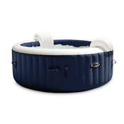 Intex Purespa Plus 6 Person Portable Inflatable Hot Tub Jet Spa With Cover, Navy