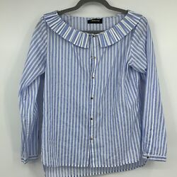 Laurence Bras Blouse Us 4 Peter Pan Collar Ruffled Gold Jeweled Buttons Stripes