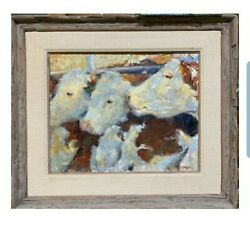Early, Original 1979 Signed Leonard Wren Cow Oil Painting