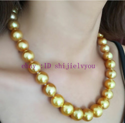 Fashion Jewelry Huge 12mm Natural Gold South Sea Real Shell Pearl Necklace 18
