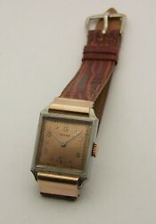 Scarce 1930and039s Rectangular Art Deco Rose Gold And Stainless Steel Mans Rolex 3893