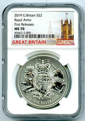 2019 2pd Great Britain 1oz Silver Ngc Ms70 Royal Arms First Releases Rare Pop21