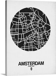 Amsterdam Street Map Black And White Canvas Wall Art Print, Map Home Decor