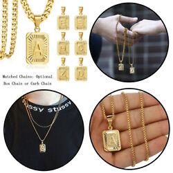 Gold Plated Letter A-z Pendant Necklace Stainless Steel Curb Or Box Chain 18-22