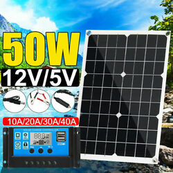 50W 12V Dual USB Solar Panel Battery Charger Car Boat W Cable Controller T0S6