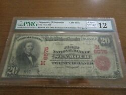 Large Size Wisconsin National Currency 20 Note 1st Nb Seymour Pmg 12 Red Seal