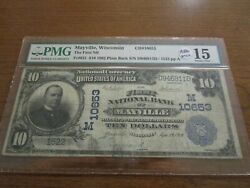 Large Size Wisconsin National Currency 10 Note First Nb Mayville Pmg 15