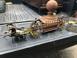"""1890s Cast Iron Horse Drawn Fire Engine / Ladder Truck Toy By Kenton 30"""" Long"""