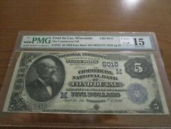 Large Size Wisconsin National Currency 5 Note Commercial Nb Fond Du Lac Pmg 15