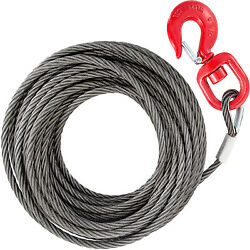 Vevor Fiber Core Winch Cable 3/8 X 100and039 Self Locking Swivel Hook Tow Truck