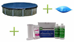 Swimline 15and039 Round Above Ground Pool Cover + 4and039x8and039 Air Pillow + Winterizing Kit