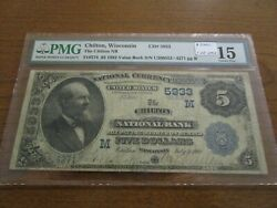 Large Size Wisconsin National Currency 5 Note Chilton Nb Pmg 15