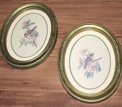 Homco Home Interior 2 Gold Oval Humming Bird Pictures