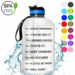 Water Bottle With Straw Clear Plastic Drinking Bottles Big Gym Jug Cup Sports