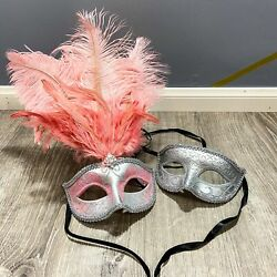 Halloween Venice Pink Feather Masquerade Party&Opera Design silver Couple Masks