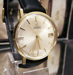 Antique Vintage Omega Solid 18k Gold 1963 Cal 562 Date Auto Watch Serviced.
