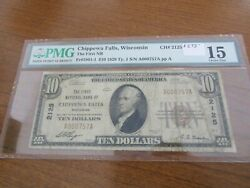 Small Size Wisconsin National Currency 10 Note 1st Nb Chippewa Falls Pmg 15