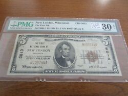 Small Size Wisconsin National Currency 5 Note First Nb New London Pmg 30