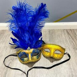 Halloween Venice Blue Feather Masquerade Party&Opera Design Gold Couple Masks