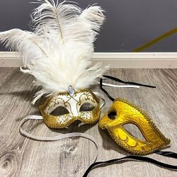 Halloween Venice White Feather Masquerade Party&Opera Design Gold Couple Masks