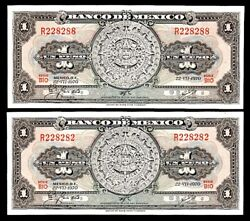 Special Numbers / 2 Mexico Peso Notes 2's And 8's Cu Note Series Bio 1970 Ppd-us