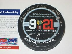 Bobby Hull And Stan Mikita Signed Official Hull/mikita Night Game Puck W/ Psa Coa