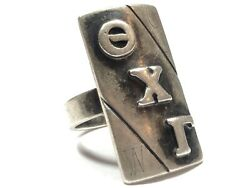 Sterling Silver Theta Chi Gamma Greek Letters Ring - Fraternity - Sorority - 6.5