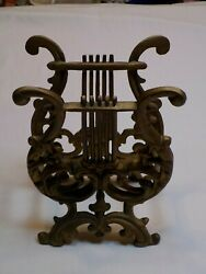 Cast Metal Brass Color Gold Tone Music Lyre Harp Magazine Music Stand Holder Old