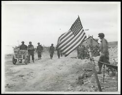 1944 D-day +7 Wwii Type 1 Original Photo Us Flag Flies Normandy Beach France