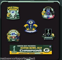 Green Bay Packers Super Bowl Xlv 45 Champions 5-pin Set Aaron Rodgers Brand New