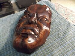 Antique Asian Carved Wood Face Mask Wall Hanging 10 Vg