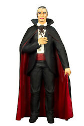6' Dracula With A Fabric Cape Resin Statue Halloween Prop Display Figurine