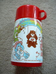 Care Bears 1985 Vintage Plastic Aladdin Thermos Lunchbox Bottle American Grtngs