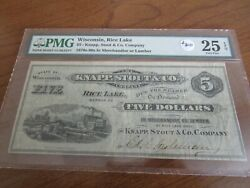 Wisconsin Obsolete Currency 5 Note Knapp Stout And Co. Lumber Scrip Pmg 25