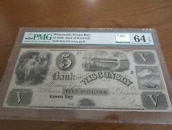 Wisconsin Obsolete Currency 5 Note Bank Of Wisconsin At Green Bay Pmg 64