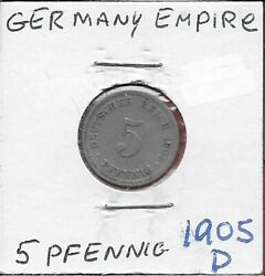 Germany Empire 5 Pfennig 1905-d Wilhelm Iilarge Crowned Imperial Eagle With Shi