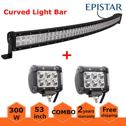 52inch 300w Curved Led Light Bar Combo 4wd Offroad Atv Driving+2x 18w 4 Pods