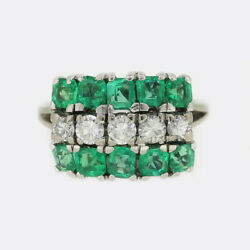 Vintage Emerald And Diamond Ring 18ct White Gold
