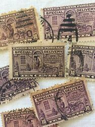 Lot Of 7 - 1927 United States Stamp 10 Cent Motorcycle Special Delivery - Used