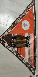 Vintage. Ussr. Olympiad 1980 Moscow. Fan-made Wooden Whistles And A Large Scarf.