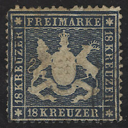 Wurttemberg Postage Stamp 29, Used Faults Sismondo Certifictate