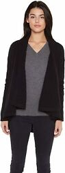 Jennie Liu Womenand039s 100 Pure Cashmere 4-ply Cable-knit Drape-front Open Cardigan