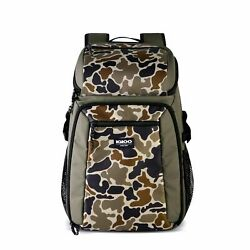 Igloo Gizmo Durable amp; Adjustable Insulated 30 Can Cooler Backpack Camouflage $49.99