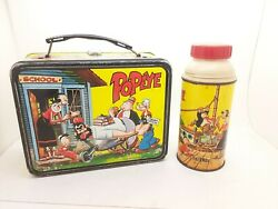 1964 Popeye Vintage Metal Lunch Box With Thermos Bottle