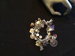 Womenandrsquos Beautiful Vintage Sterling Silver Charm Bracelet Marked Size 7.5