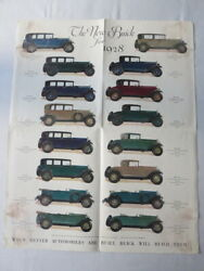 1928 Buick Sales Brochure Catalog Poster Coupe Sedan Country Club Roadster +