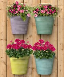 HALF ROUND BUCKET WALL PLANTERS 4 PACK ASSORTED COLORS by PANACEA