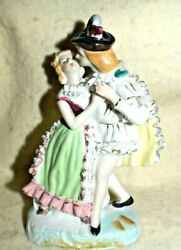 Estate -old-bone China-hand Painted Figurine Colonial Couple ===dancing Look