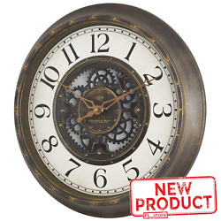 Large Gear Wall Clock Analog Lightweight Plastic Frame Aged Bronze Finish 15.5quot;