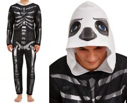 New Fortnite Skull Trooper Mens Union Suit Size Xl One Piece Pajamas Costume Nwt